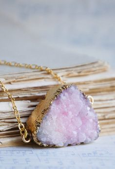 Light Pink AGATE Druzy NECKLACE Beautiful Stone