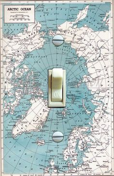 Vintage Map Arctic Ocean Alaska Canada Germany Greenland ORIGINAL 1949 Decorative Single Switch Plate  ***FREE SHIPPING*** by VintageSwitchPlates on Etsy