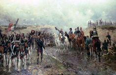 Napoleón Último Gran ataque.por Ernest Crofts. La cuarta versión de Ernest Crofts sobre una serie de Waterloo.Se ve a Napoleón con sus generales junto a su fiel regimiento de la Guardia (en reserva) marchando ante él en su camino hacia el último ataque francés a las líneas británicas durante las últimas etapas de la Batalla de Waterloo. Pintado en 1895 fue vendido por última vez en Sothebys de Londres.