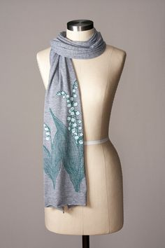 I can't believe I'm saying this but it's *already* scarf weather here in North Carolina!  I had to wear a sweater last night!  Good thing we already started releasing our new designs for Fall....  #planningahead  Lily of the Valley Scarf, $28, handprinted by Flytrap
