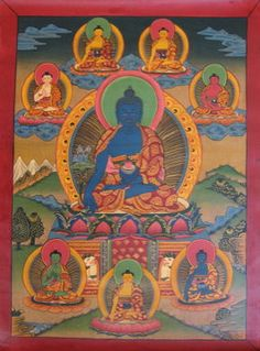 """Bhaisajyaguru is know as Medicine Buddha. He is also called the Healing Buddha.     'Medicine Master and King of Lapis Lazuli Light'), is the buddha of healing and medicine in Mahāyāna Buddhism. Commonly referred to as the """"Medicine Buddha"""", he is described as a doctor who cures suffering using the medicine of his teachings."""