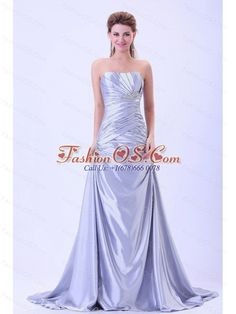 Custom Made For 2013 Prom / Evening Dress Silver A-line Ruched and Appliques With Brush Train- $149.58  http://www.fashionos.com   | discount prom dress | customize prom dress | affordable prom dress | where to buy prom dress | prom dress online shop | prom dress websites | floor length prom dress | low price prom dress | cheap plus size 2013 prom homecoming gowns |  Get a modern day princess style that even Cinderella would envy with this floor-length strapless prom dress.