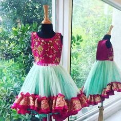 A pistachio cherry dress that will make your daughter look like an elegant princess. Cotton Frocks For Kids, Frocks For Girls, Little Girl Dresses, Girls Dresses, Mom And Baby Dresses, Girl Skirts, Long Skirts, Baby Lehenga, Kids Lehenga