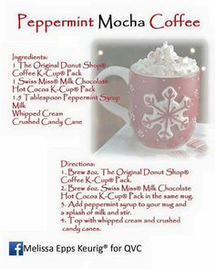 Peppermint Mocha Coffee Mocha Coffee, Coffee Cups, Keurig Recipes, Annorexia Tips, Coffee Ingredients, Peppermint Mocha, Holiday Treats, Cocoa, Helpful Hints
