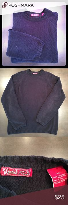 SALE!  Navy blue sweater Soft, plush poly-fleece sweater in dark navy is super comfortable. Raglan sleeves. In excellent condition!  Looser fit. Great for fall! Woody's Retro Lounge Sweaters Crewneck