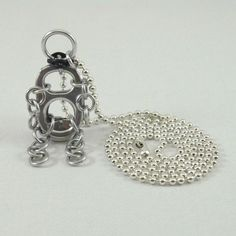 pop tab guy necklace  silver plated ball chain 24 inch