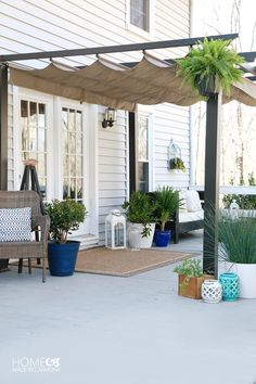 Patio Styling: From Bare to Beautiful! Better Homes and Gardens Pergola.this as an add on to my porch with a deck underneath might be super cuteBetter Homes and Gardens Pergola.this as an add on to my porch with a deck underneath might be super cute Diy Pergola, Pergola With Roof, Outdoor Pergola, Diy Patio, Backyard Patio, Pergola Lighting, Modern Pergola, Covered Pergola, Patio Ideas With Pergola