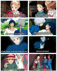 Howl's Moving Castle twists, I like how see seems to reflect the beauty that Howl she's in her as the movie goes on