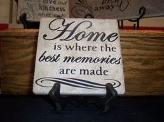 Home is where the best memories are made – O'Reilly Tiles Vinyl Quotes, Home Quotes And Sayings, Lamp Shades, Best Memories, Picture Wall, Tiles, Clip Art, Good Things, Writing