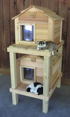 Outdoor Cat House- now this is definitely living the high life! Lol
