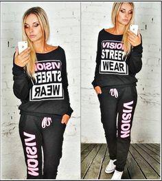 Schwarze Baggy Jogginghose mit Pullover SetPiNK Vision Street Wear Gr.M
