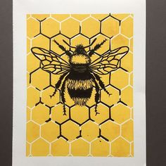The finished bee and honeycomb linocut print 🐝. I completely underestimated how long the yellow layer would take to dry and wasted my first attempt ... but it's all part of the learning process 😊! . . #bee #bees #busybee #buzzybee #linocut #linoprint #printmaking #prints #illustration #honeycomb #etsyuk #etsyseller #etsyshop #originalartwork #handmade #honeybee