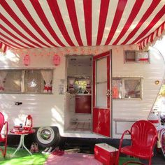 Camping in red and white. So cute! I want a camper!