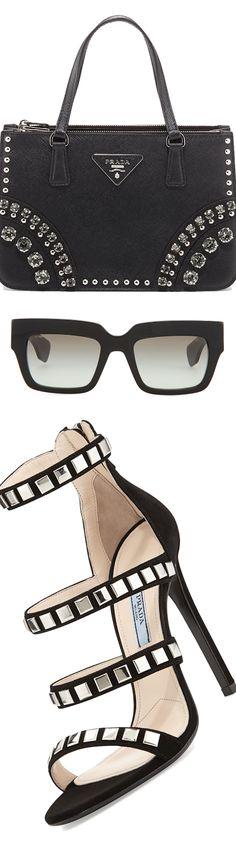 Prada Square-Stud Suede Sandal, Black (Nero), Prada Saffiano Tote Bag with Studs and Stones, Black (Nero), and Prada Poem Catwalk Square Sunglasses LOOKandLOVEwithLOLO