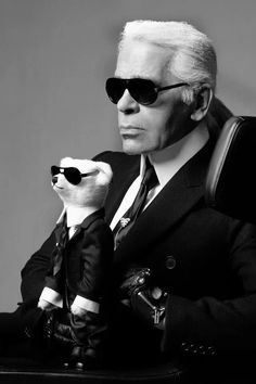 Karl Lagerfeld with his Steiff bear - all in black