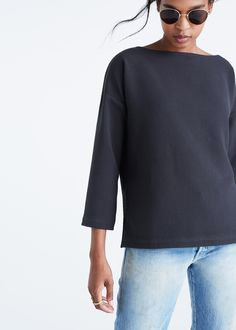 madewell crepe boatneck top Feminine Tomboy, Bateau Neckline, Halloween Cards, Boat Neck, Stitch Fix, Madewell, Bell Sleeve Top, Boards, Dressing