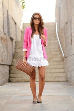 Casual Dressy Look- White Summer dress with pink blazer and oversized clutch