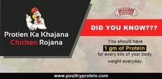 Human need to consume 1 gm of protein for every kilogram of your bodyweight everyday.  Visit us @ www.poultryprotein.com