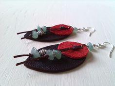 Handmade leather earrings, Genuine leather, Tibetan silver, Green amazonite, Wax thread by BeautifulStaff on Etsy