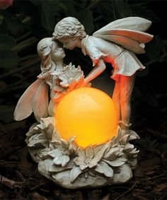 kissing fairies solar garden statue