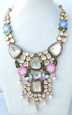 boho chic vintage antique 22 carat Gold Daimond polki
