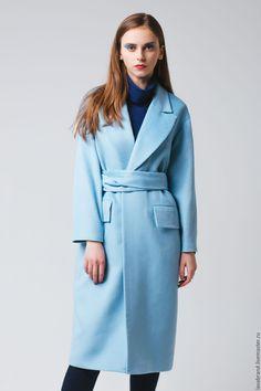 Купить Пальто Sky (Небесный) - голубой, однотонный, пальто, Осеннее пальто, демисезонное, женское пальто