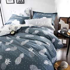 Modern Pineapple Duvet Cover Bedding 4 Piece Set - Queen #BedroomIdeas