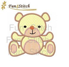 Teddy bear applique machine embroidery design on Etsy, $2.89