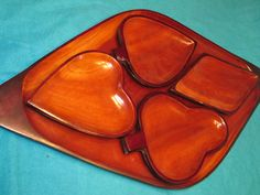 Wood Serving Tray, 4 Snack Bowls Card Suits, Vintage Card Game Snack Set.  Heart, Spade, Diamond, Club  Mahogany Wood    This 5 piece set would