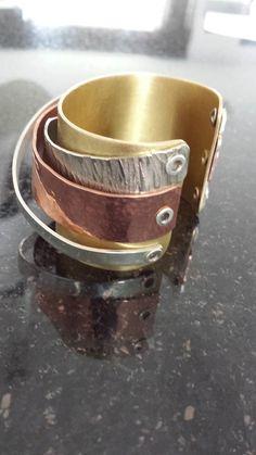 armband klinken met Messing, Alpaca, Koper en Zilver - bewerkingen zoals o.a. gehamerd