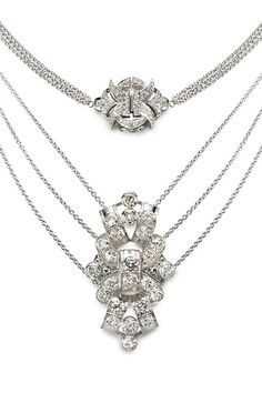 www.eskaejeweller.com.au  18ct white gold Art Deco neck piece set with diamonds.