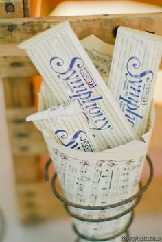 Using old music scores as a party favor holder adds uniqueness to any gathering it also adds personality! Using old music scores as a party favor holder adds uniqueness to any gathering it also adds personality! Music Theme Birthday, Music Themed Parties, Birthday Party Themes, Retirement Parties, Grad Parties, Retirement Party Centerpieces, Music Centerpieces, Music Party Decorations, Music Baby Showers