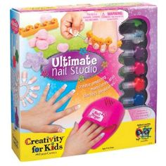 Creativity for Kids Ultimate Nail Studio Activity  Includes (1) nail dryer, (6) nail polishes, glitter, nail art stickers, (1) Pair of slippers, (1) set of toe separators, (24) stick-on nails with adhesive, (6) cotton balls, (1) nail file, (1) spa tote bag and instructions.