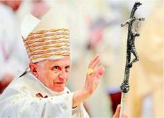 """Paul """" made use of a sinister symbol, used by Satanists in the sixth century, that had been revived at the time of Vatican Two. This bent or broken cross, on which was displayed a repulsive and distorted figure of Christ, which the black magicians and sorcerers of the Middle Ages had made use of to represent the Biblical term """"Mark of the Beast. Paul VI, and two John Paul's,  it stood for anti-Christ."""""""