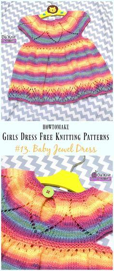 Baby Jewel Dress Free Knitting Pattern - Little Girls #Dress Free #Knitting Patterns