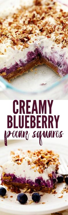 No Bake Creamy Blueberry Pecan Squares are a cool and creamy layered summer dessert. You will love the creamy blueberry center on top of a pecan graham crust and topped with fresh whipping cream and chopped pecans!
