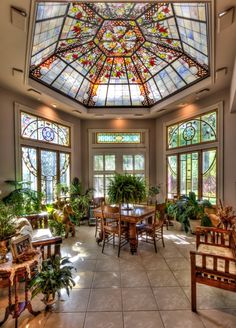 Solarium with stained glass dome ceiling.