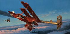 Vintage Biplanes The Baron's Last Sunset, by Steve Anderson (Fokker Dr.I Manfred von Richthofen vs Sopwith Camel) Military Art, Military History, Fighter Aircraft, Fighter Jets, Fokker Dr1, Manfred Von Richthofen, The Art Of Flight, Air Festival, Aviation Art