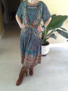 Vintage 80's Carole Little Bohemian hippie Dress size 6