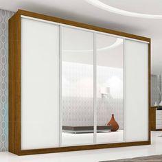 Guarda-roupa Plata 4 Portas de Correr com Espelho 100% MDF Flex Color Reversível Nogueira/Branco/Nogueira - Móveis Europa   Lojas KD