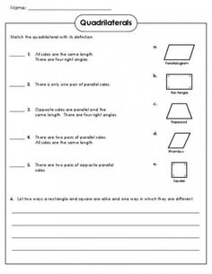 Quadrilateral Worksheets 3rd Grade free quadrilateral