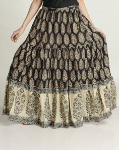 """Cotton Mull Kalamkari Ghera Border Long Skirt by Fabindia; $58 """"Fabindia links over 55,000 craft based rural producers to modern urban markets, thereby creating a base for skilled, sustainable rural employment, and preserving India's traditional handicrafts in the process."""""""