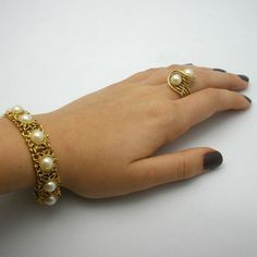 Vintage Ornate Gold toned Bracelet  by PaintedDesignsByLona, $45.00
