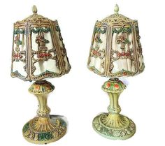 Ornate IRON Table Lamps COTTAGE Chic Deco Era FLOWER Baskets  Art Deco Era heavy…