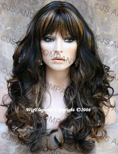 Beautiful Long Wavy Curly Layered Black with Strawberry Blonde and Bangs Wig | eBay Love this hairstyle in dark ash blonde for extensions