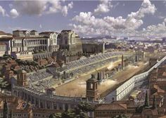 Artist's reconstruction of Rome's Circus Maximus.so beautiful! Alot of people dont realize that the Circus Maximus was larger, held more people than the Coliseum. Ancient Rome, Ancient Greece, Ancient Art, Ancient History, Course De Chars, Circus Maximus, Rome Architecture, Roman Republic, Art Antique