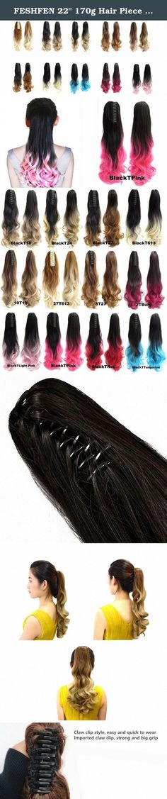 """FESHFEN 22"""" 170g Hair Piece Pony Tail Ponytail Hair Extensions Hairpiece Long Straight/Voluminous Curled Wavy Clip In/On Claw Ponytail Two Tone Black to Pink. FESHFEN 22"""" 170g Hair Piece Pony Tail Ponytail Hair Extensions Hairpiece Long Straight/Voluminous Curled Wavy Clip In/On Claw Ponytail Two Tone Black to Pink Product Information Materials: 100% Premium Quality Synthetic Hair, feels silky and soft like real human hair Weight: 160 grams including jaw/claw clips Length: 22 inches/55cm..."""
