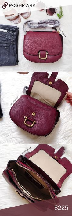 "J. Crew 'Rider' bag in red wine Brand new crossbody leather bag in a dark wine leather. Features gold hardware with front buckle/magnetic top closure. Lots of pockets to organize things--main compartment has zipper closure. Adjustable shoulder strap is approximately 22 1/2"" long. Color is darker in person. This is the larger Rider bag, not the mini.  Measurements: 6 3/4""H x 9""W x 3 1/2""D J. Crew Bags Crossbody Bags"