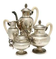 A CONTINENTAL SILVER AND IVORY FOUR-PIECE TEA SERVICE, | CIRCA 1900, | Interiors Auction | All other categories of objects, table services | Christie's