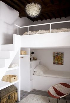 This is such a cool bed. Tons of room for storage and an extra bed for someone if needed. I love the stairs up to the top bed! If this was in my room I wouldnt be able to decide which bed to sleep on! - home me Bunk Beds Built In, Kids Bunk Beds, Childrens Bunk Beds, Bunk Rooms, Attic Bedrooms, Cool Beds, Style At Home, New Room, My Dream Home
